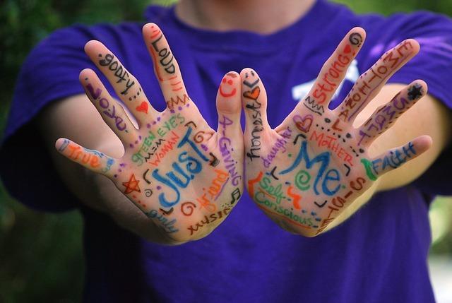 英語が書かれた手を広げる子供