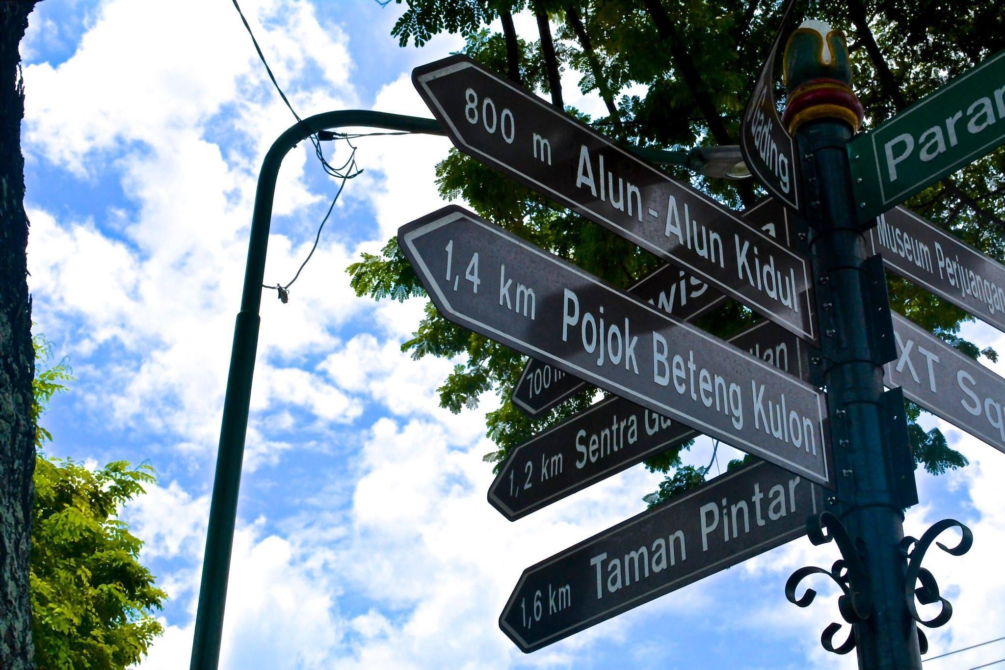 色々な方向を指す標識