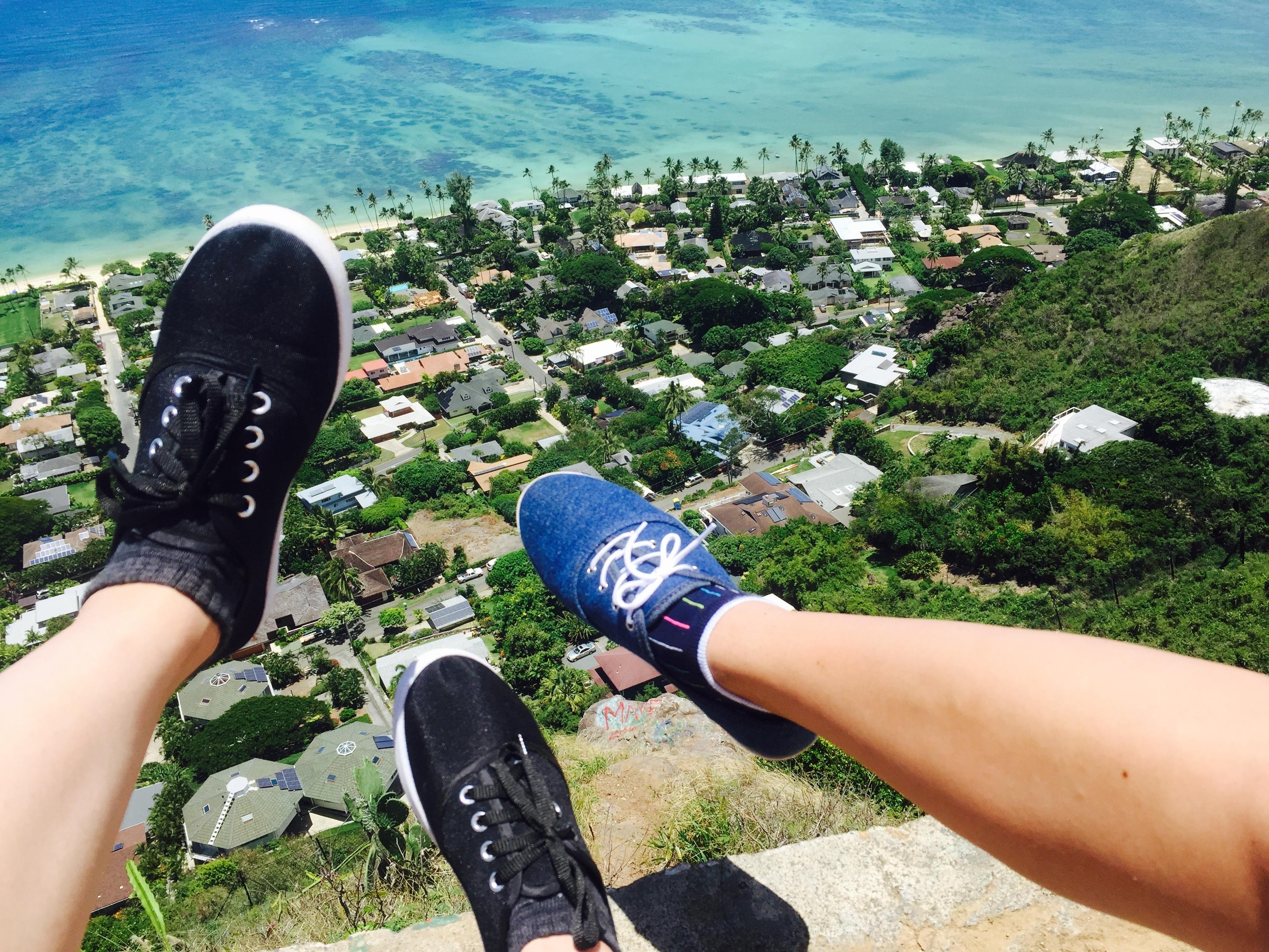 ハワイで一歩踏み出している写真