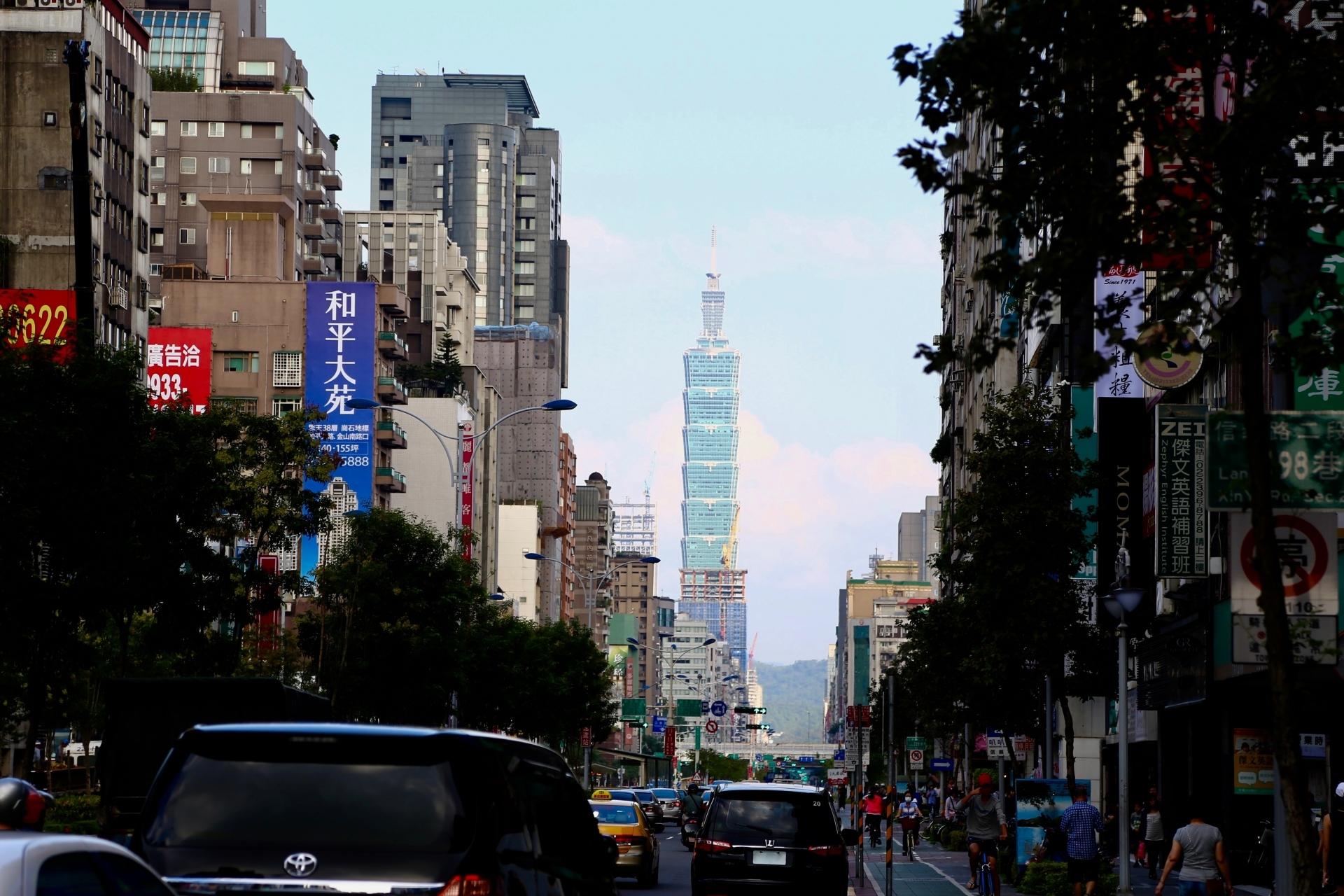 台北101が見える台北の街並み