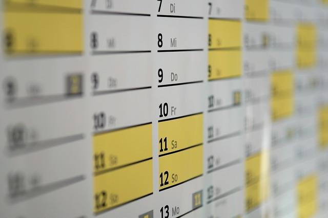 ツアー予定日のカレンダーイメージ