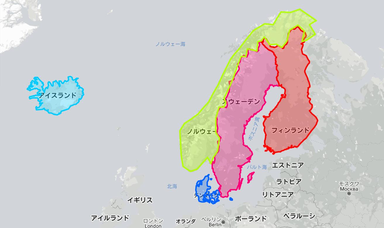北欧5カ国の大きさ