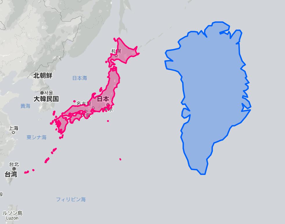 日本とグリーンランドの比較