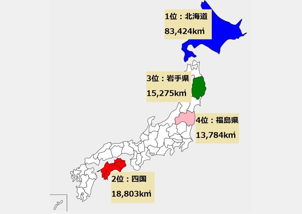面積 が 大きい 都 道府県 ランキング