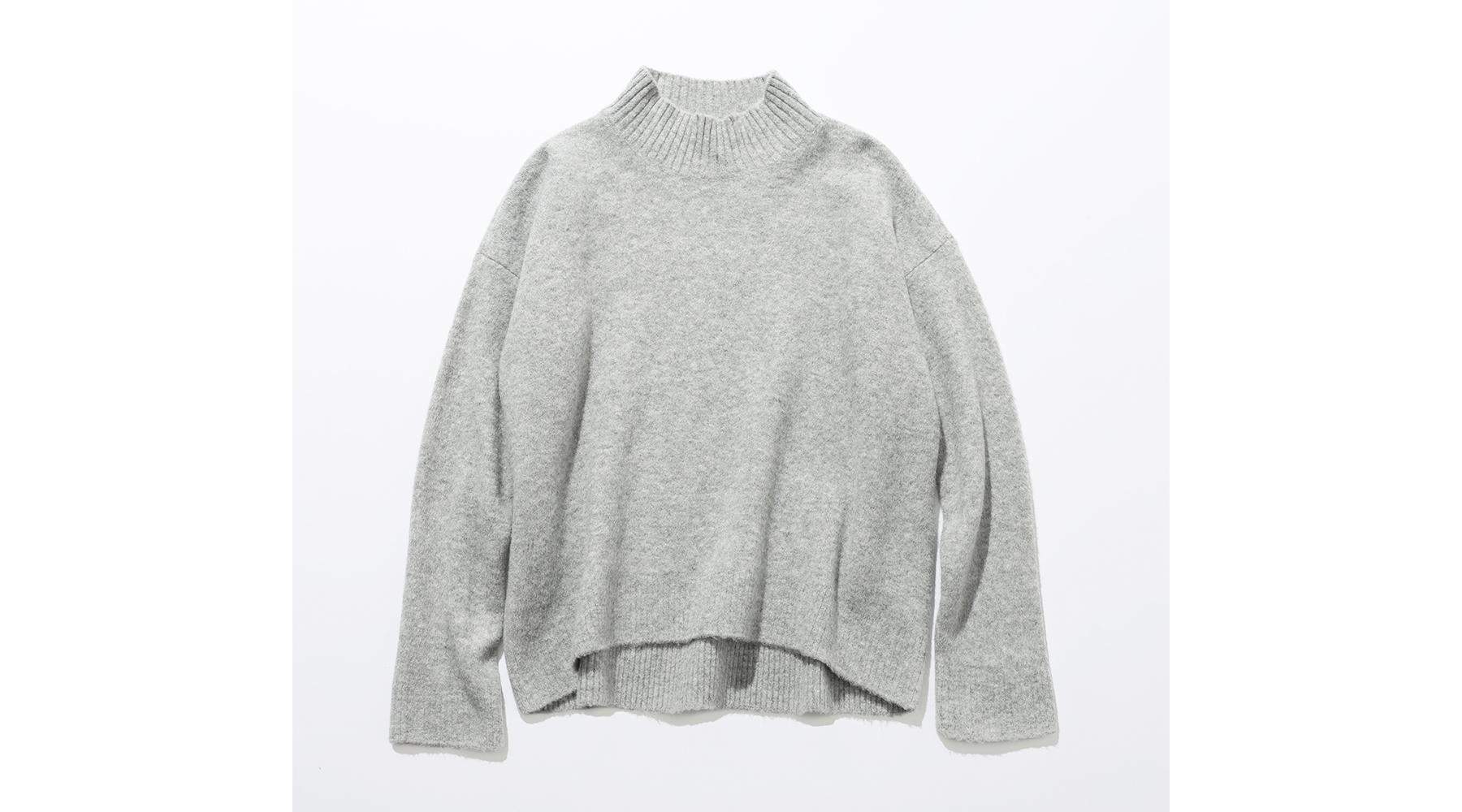 スフレヤーンモックネックセーター グレー