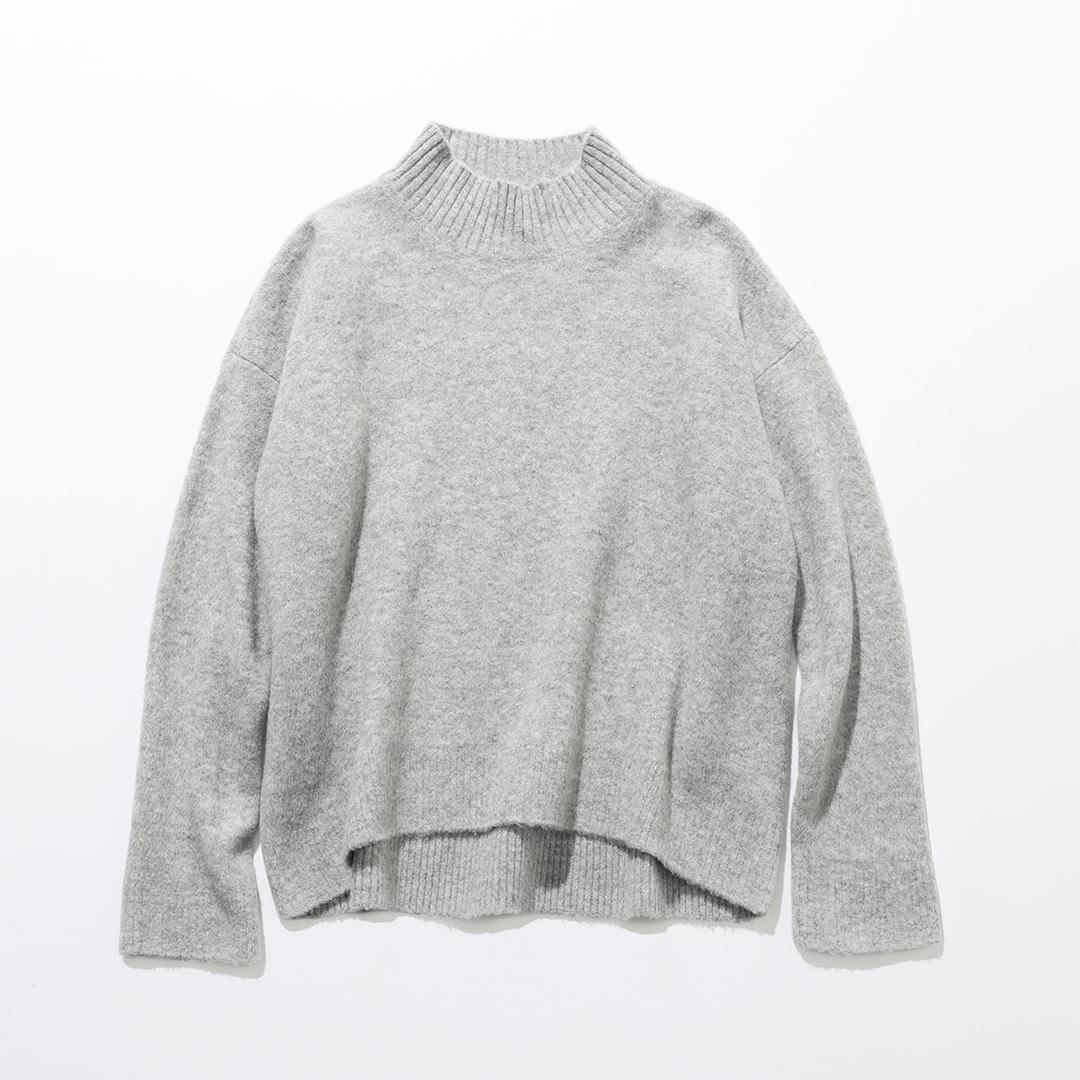 スフレヤーンモックネックセーターグレー