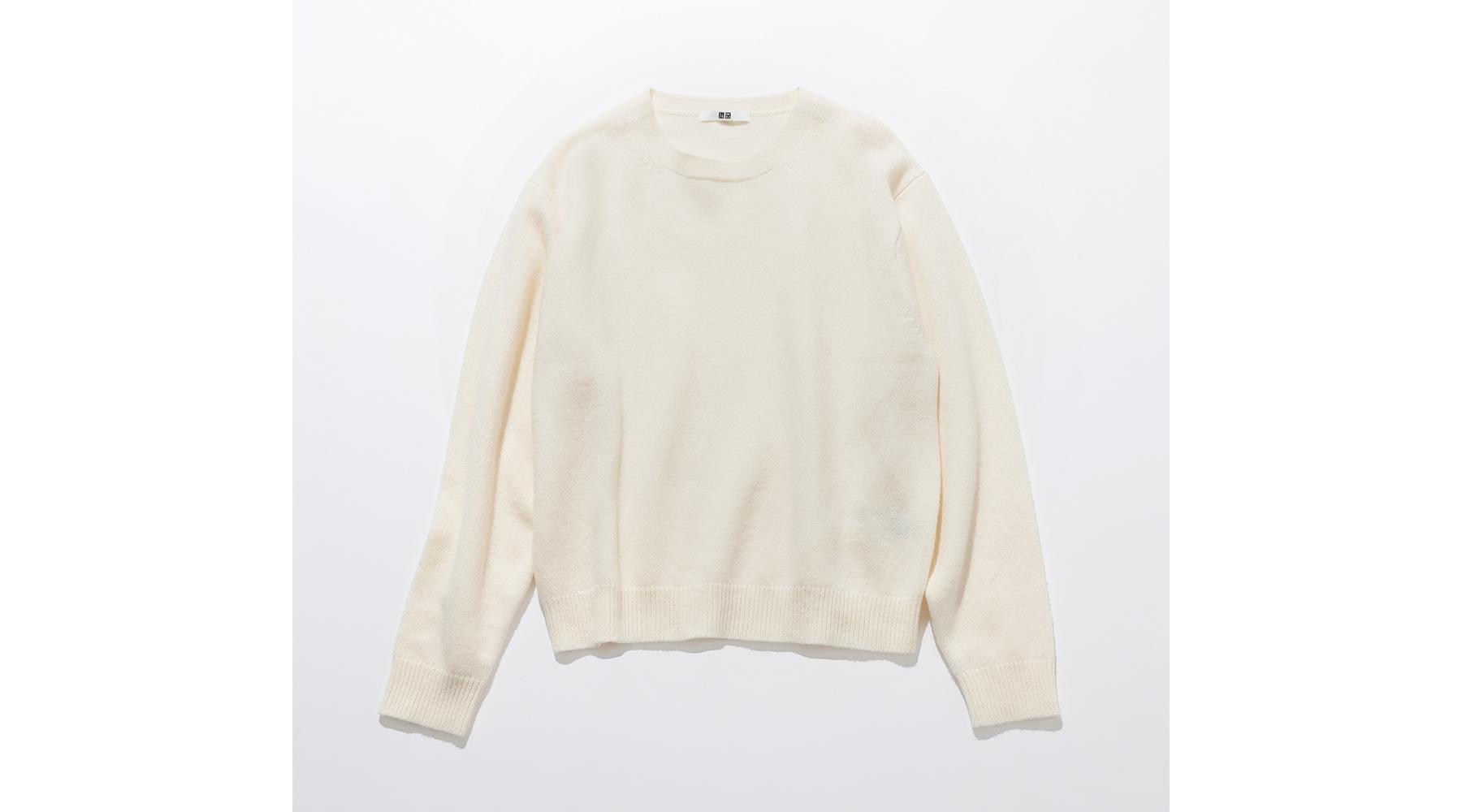 プレミアムラムクルーネックセーター オフホワイト