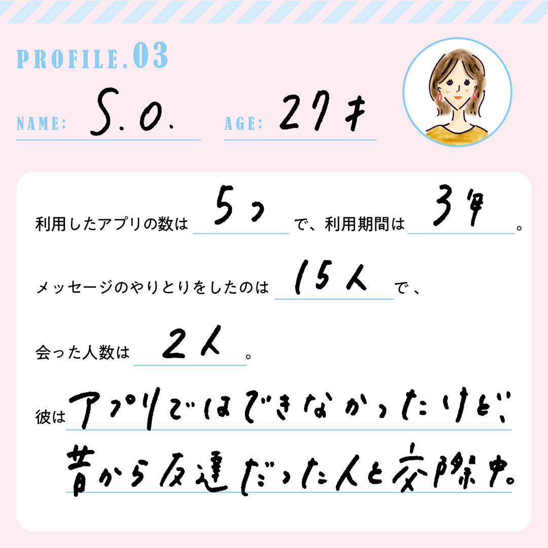PROFILE.3 NAME:S.O. AGE:27才 利用したアプリの数は5つで、利用期間は3年。メッセージをやりとりしたのは15人で、会った人数は2人。彼はアプリではできなかったけど、昔から友達だった人と交際中。
