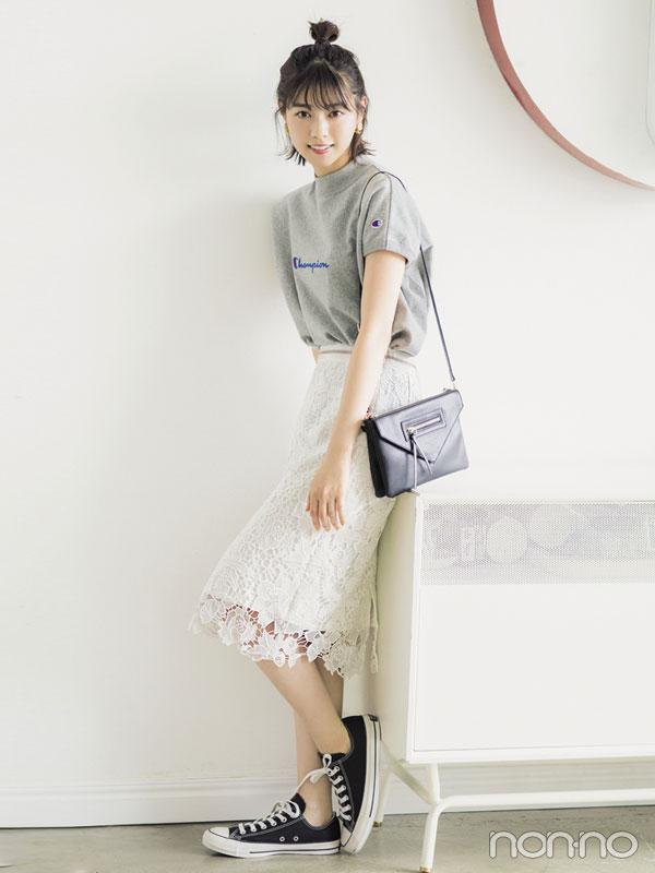 猛暑でも涼し気なのは白レース♡ 西野七瀬のひざ丈スカートコーデ3選!