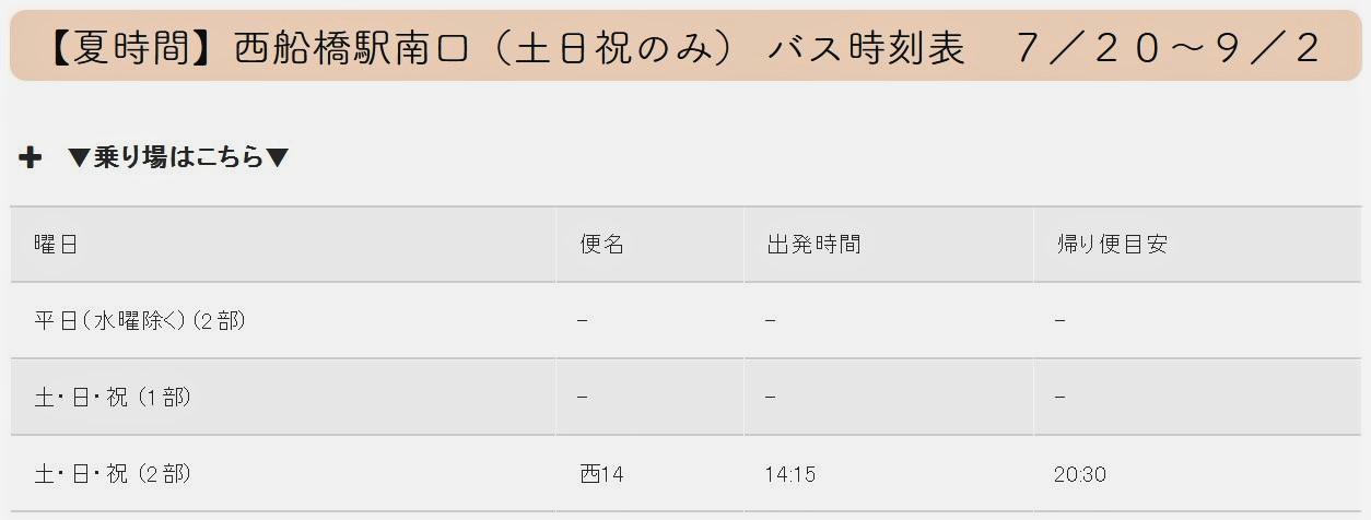 【夏時間】西船橋駅(土日祝のみ)送迎バス運行スケジュール