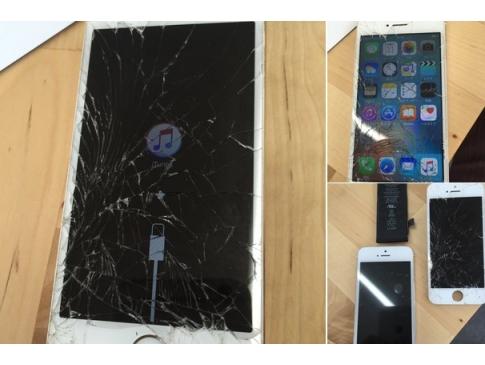 【修理事例:画面割れ・バッテリー交換】落として電源が入らなくなり、復元もできなくなったiPhone5sを持ち込みされました。 原因はバッテリーでした。 バッテリーと一緒に画面も交換して元通り!
