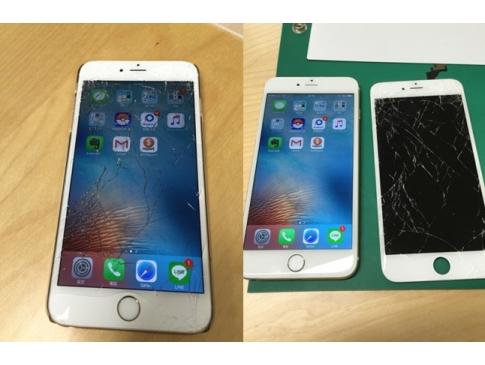 【修理事例:画面割れ】仕事とプライベート兼用のiPhone6Plusをテーブルから落としてしまいこんな有様に… 仕事で使えない事が非常に困るという事で営業時間外ですが、修理対応致しました! お急ぎの場合は営業時間外でもご連絡ください!