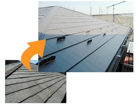 【屋根リフォーム施工事例】重ね葺き・カバー工法