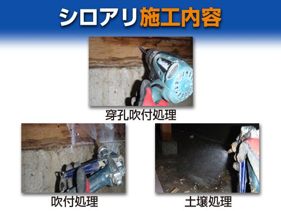 【シロアリ】施工内容 ①穿孔吹付処理②吹付処理③土壌処理