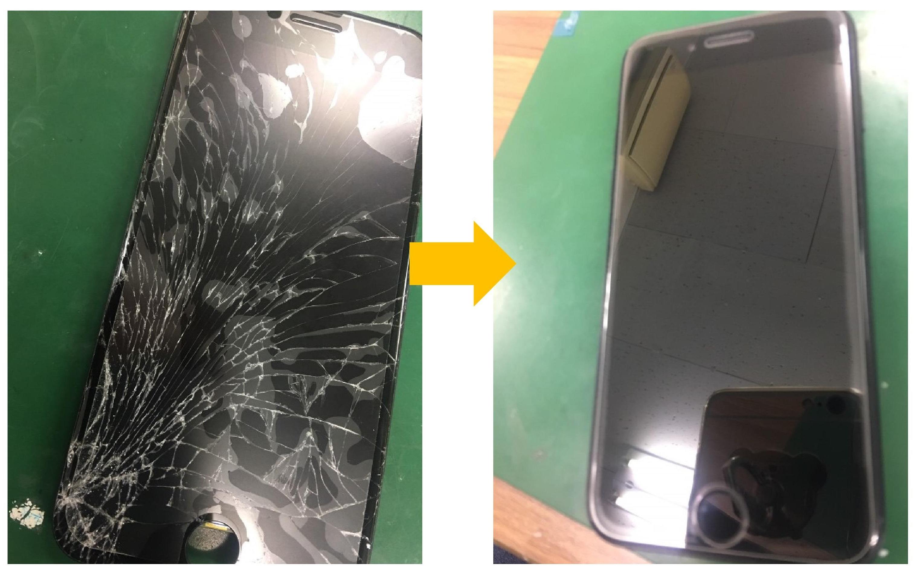 画面がバキバキ状態のiPhone7がこんな感じに蘇ります!修理費用は14,800円20分で修理完了となりました!