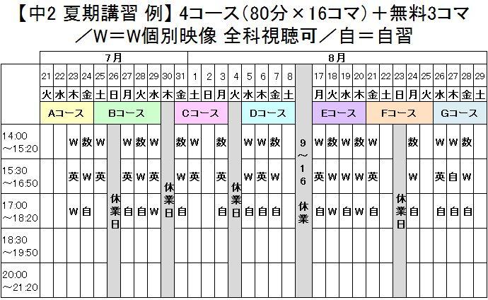 中学生 夏期講習例(2015)