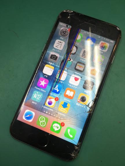 【iPhone6s:液晶修理】津田沼から、画面割れを放置していたらカバンの中で液晶が割れてしまったとのことでご来店です。約20分で修理完了です!