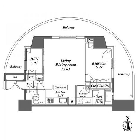 レジディア芝浦KAIGAN(旧KAIGAN APARTMENT) / 1006 部屋画像1