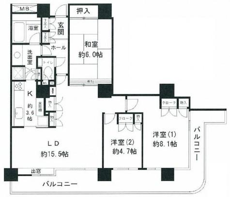 リバーポイントタワー / 8階 部屋画像1