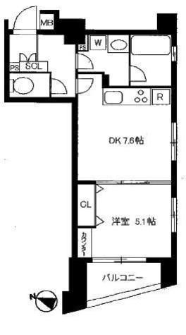 間取り図 洋室5.1帖 DK7.6帖