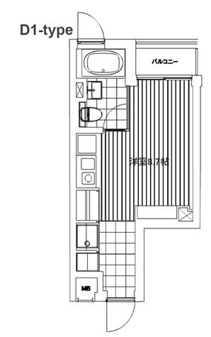居室の広さは8.7帖