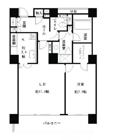 リバーポイントタワー / 14階 部屋画像1