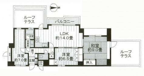 朝日白山マンション / 12階 部屋画像1