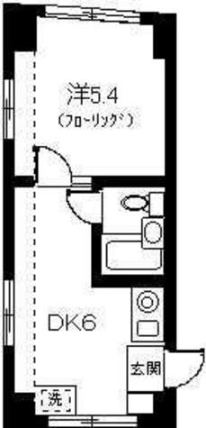 最上階角部屋1DK