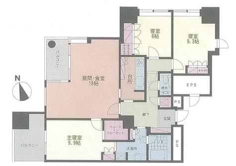 六本木ヒルズレジデンスB棟 / 18階 部屋画像1