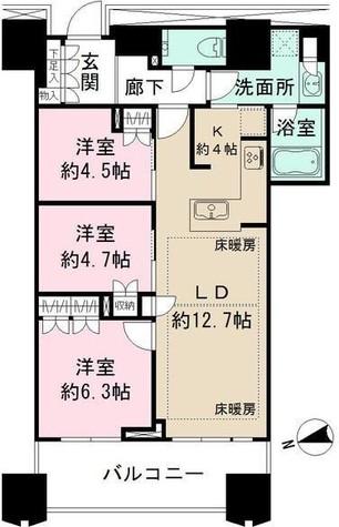 富久クロスコンフォートタワー / 1804 部屋画像1