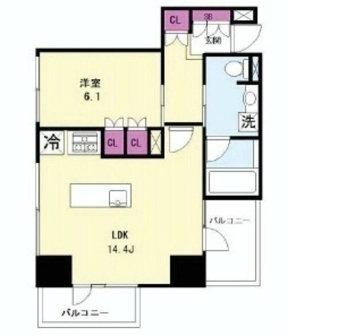 Shibaurafuto 12 min Apartment / 10 Floor 部屋画像1