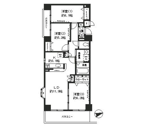 オークヒルズ弐番館 / 2階 部屋画像1