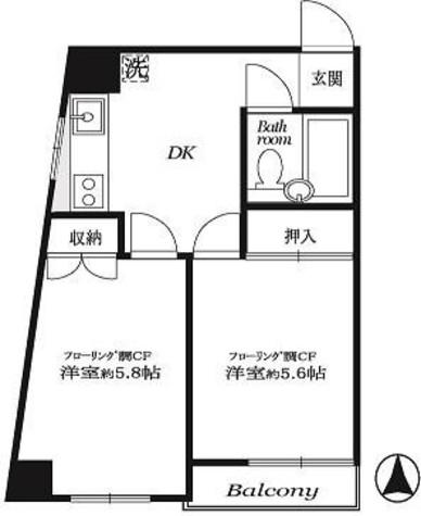 市ヶ谷春日マンション / 5階 部屋画像1