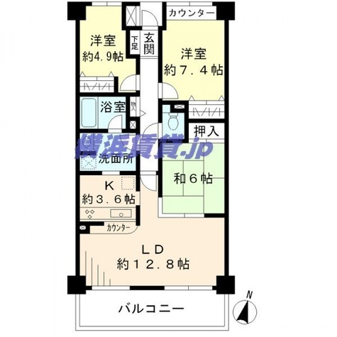 保土ヶ谷オークヒルズ / 3階 部屋画像1