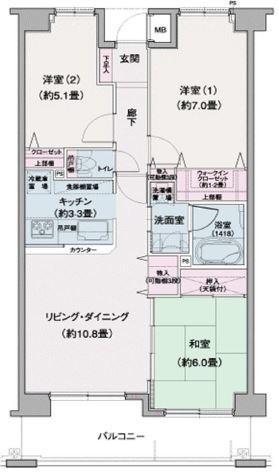 ロータリーパレス習志野 / 3階 部屋画像1
