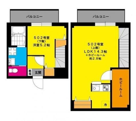 b'CASA yamashitacho (ビーカーサ山下町) / 5階 部屋画像1