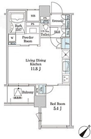 MFPR目黒タワー / 1L-Dタイプ 部屋画像1