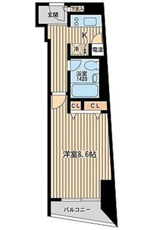 HF三田レジデンス(旧シングルレジデンス三田) / Dtype 部屋画像1
