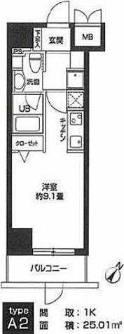 カスタリア用賀(旧ニューシティレジデンス用賀) / A2タイプ(25.01㎡) 部屋画像1