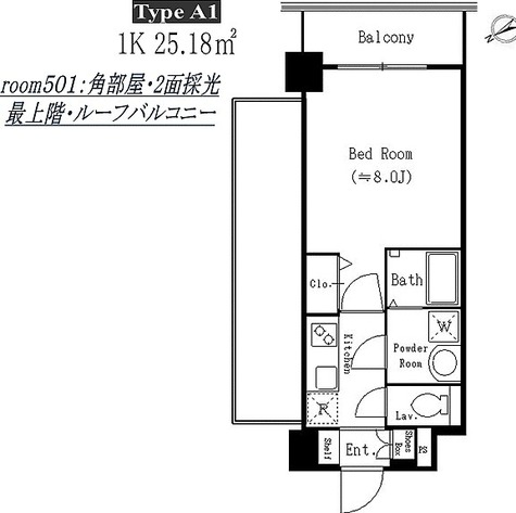 ドゥーエ西船橋 / A1タイプ(25.18㎡) 部屋画像1