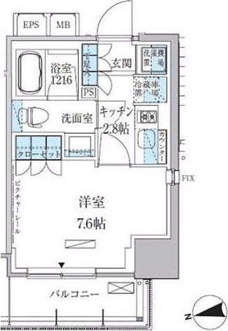 パークアクシス上野松が谷 / 25.92㎡タイプ(1K) 部屋画像1