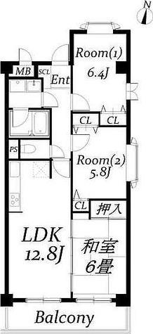 サニーコート自由が丘 (奥沢2) / 3LDK(69.59㎡) 部屋画像1