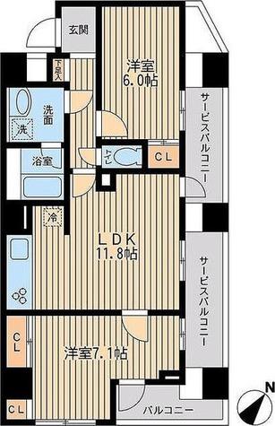 ユニフォート目黒中町 / 57.64㎡タイプ 部屋画像1