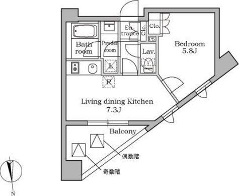 レジディア三軒茶屋 / 7階 部屋画像1