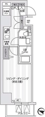 アンテニア東五反田 / 28.89㎡タイプ 部屋画像1