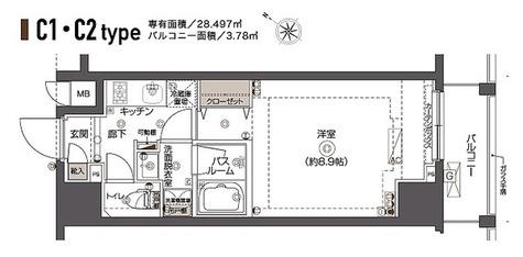ZOOM西五反田 / Cタイプ(28.49㎡) 部屋画像1