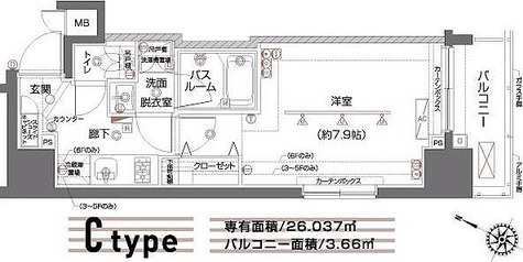 ZOOM都立大学 / C1タイプ(26.03㎡) 部屋画像1