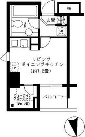 KDXレジデンス芝公園 (旧レガーロ芝公園) / ワンルーム(22.96㎡) 部屋画像1