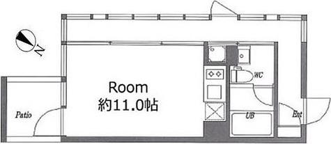 洗足 2分マンション / 2階 部屋画像1