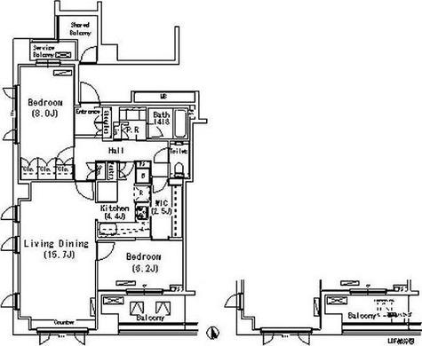 パークアクシス代官山(Park Axis 代官山) / 2LDK(80.50㎡) 部屋画像1